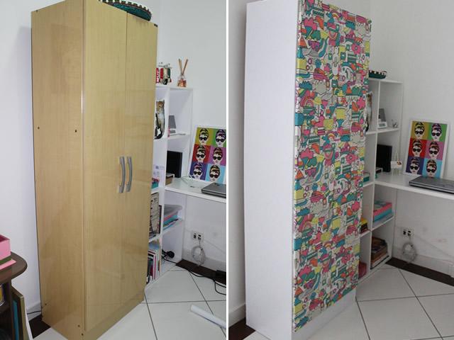 Reformando Armário com Tecido -> Como Reformar Armario De Banheiro De Mdf